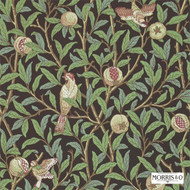 Morris and Co -  Bird & Pomegranate 212537  | Wallpaper, Wallcovering - Fire Retardant, Green, Craftsman, Floral, Garden, Jacobean, Traditional, Many-Coloured, Animals