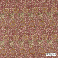 Morris and Co - Kennet 220325  | Curtain & Upholstery fabric - Red, Art Noveau, Craftsman, Floral, Garden, Natural Fibre, Commercial Use, Domestic Use, Natural, Standard Width