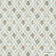 Morris and Co -  Kelmscott Trellis 230200  | Curtain Fabric - Fire Retardant, Green, Craftsman, Fiber blend, Floral, Garden, Small Scale, Commercial Use, Domestic Use
