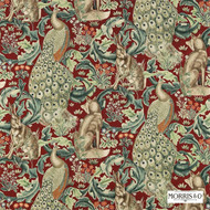 Morris and Co -  Forest (Viscose/Linen) 222533  | Curtain & Upholstery fabric - Fire Retardant, Red, Art Noveau, Craftsman, Fiber blend, Jacobean, Traditional, Animals, Animals - Fauna