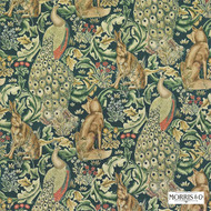 Morris and Co -  Forest (Velvet) 222643  | Curtain & Upholstery fabric - Fire Retardant, Green, Art Noveau, Craftsman, Jacobean, Natural fibre, Traditional, Velvet, Natural
