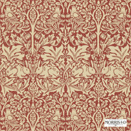 Morris and Co -  Brer Rabbit DMORBR106  | Wallpaper, Wallcovering - Fire Retardant, Red, Art Noveau, Craftsman, Damask, Eclectic, Red, Traditional, Animals, Domestic Use