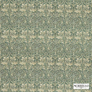 Morris and Co -  Brer Rabbit DMORBR203  | Curtain & Upholstery fabric - Fire Retardant, Green, White, Art Noveau, Craftsman, Damask, Eclectic, Natural fibre, Traditional
