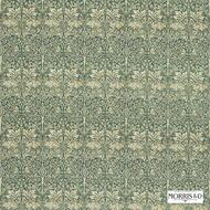 Morris and Co - Brer Rabbit DMORBR203  | Curtain & Upholstery fabric - Green, White, Art Noveau, Craftsman, Damask, Eclectic, Natural Fibre, Traditional, Animals, Natural