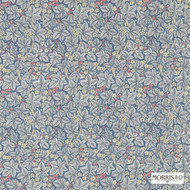 Morris and Co - Bramble 224462  | Curtain & Upholstery fabric - Blue, Floral, Garden, Natural Fibre, Domestic Use, Natural, Standard Width
