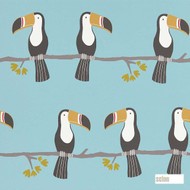 Scion Terry Toucan 111271  | Wallpaper, Wallcovering - Blue, Fire Retardant, Kids, Children, Midcentury, Animals, Animals - Fauna, Domestic Use