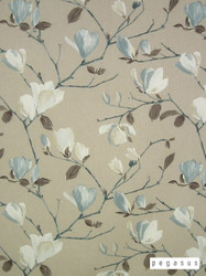 peg_39813-101 'Marine' | Curtain Fabric - Blue, Brown, White, Asian, Craftsman, Deco, Decorative, Floral, Garden, Natural fibre, Tan - Taupe, White, Domestic Use, Natural