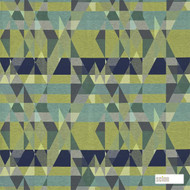 131138 '' | Curtain Fabric - Fire Retardant, Green, Eclectic, Geometric, Midcentury, Many-Coloured, Abstract, Domestic Use, Suitable for Blinds