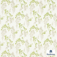 Sanderson Wisteria Blossom 223581  | Upholstery Fabric - Fire Retardant, Green, Farmhouse, Floral, Garden, Natural fibre, Commercial Use, FR Treatable, Natural