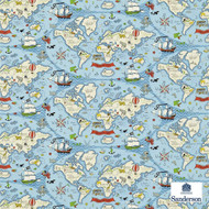 Sanderson Treasure Map 223914  | Upholstery Fabric - Blue, Kids, Children, Natural Fibre, Commercial Use, Domestic Use, Figurative, Map, Maps, Natural, Standard Width