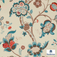 Sanderson Roslyn DVIWRO105  | Wallpaper, Wallcovering - Blue, Brown, Craftsman, Floral, Garden, Jacobean, Traditional, Commercial Use