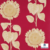 Sanderson Palladio Sunflower DVIWPA102  | Wallpaper, Wallcovering - Fire Retardant, Red, Floral, Garden, Midcentury, Commercial Use