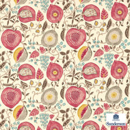 Sanderson Peas & Pods 225357  | Upholstery Fabric - Fire Retardant, Red, Fiber blend, Floral, Garden, Multi-Coloured, Commercial Use, Domestic Use, FR Treatable