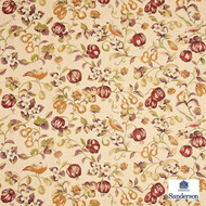 Sanderson Pear & Pomegranate DAPGPE204  | Upholstery Fabric - Brown, Fire Retardant, White, Farmhouse, Floral, Garden, Multi-Coloured, Natural fibre, Commercial Use, Domestic Use, FR Treatable