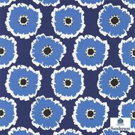 Sanderson Papavera 224615  | Upholstery Fabric - Blue, Fire Retardant, Floral, Garden, Midcentury, Natural fibre, Many-Coloured, Commercial Use, Natural, FR Treatable