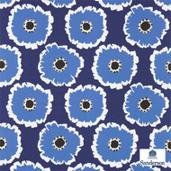 Sanderson Papavera 224615  | Upholstery Fabric - Blue, Floral, Garden, Multi-Coloured, Midcentury, Natural fibre, Commercial Use, Domestic Use, Natural