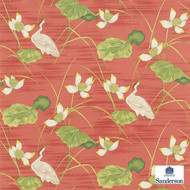 Sanderson HERONSFORD 223497  | Upholstery Fabric - Fire Retardant, Green, Red, Asian, Floral, Garden, Multi-Coloured, Natural fibre, Animals, Animals - Fauna, Chinoise, Commercial Use, Natural