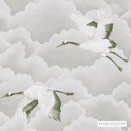 Harlequin Cranes In Flight 111230  | Wallpaper, Wallcovering - Fire Retardant, White, Asian, Harlequin, White, Animals, Commercial Use, Chinoiserie - Chinoise, Animals - Fauna