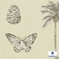 Sanderson Cocos 213381  | Wallpaper, Wallcovering - Brown, Gold,  Yellow, Beach, Floral, Garden, Midcentury, Tropical, Animals, Animals - Fauna, Commercial Use, Birds