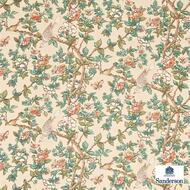 Sanderson Caverley DCAVCA204  | Upholstery Fabric - Fire Retardant, Green, White, Craftsman, Farmhouse, Floral, Garden, Multi-Coloured, Natural fibre, Animals, Animals - Fauna, Commercial Use