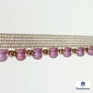 Sanderson Beaded Braid 232281  | Upholstery Fabric - Pink, Purple, Synthetic, Traditional, Washable, Commercial Use