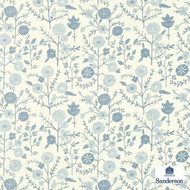 Sanderson Batik Garden 223575  | Wallpaper, Wallcovering - Blue, Floral, Garden, Small Scale, Traditional, Commercial Use