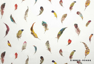 Zimmer and Rohde Paradise   Birds Gallery  - 10623/634  | Curtain Fabric - White, Eclectic, Multi-Coloured, Midcentury, Natural fibre, Natural, Semi-Plain, White