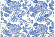 Unique Fabrics Ceramica Chantilly - Clay  | Curtain & Upholstery fabric - Blue, Floral, Garden, Natural Fibre, Paisley, Domestic Use, Natural, Standard Width