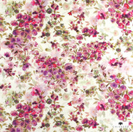 Uf_0789 'CH2723/050' | Curtain & Upholstery fabric - Floral, Garden, Natural fibre, Traditional, Pink - Purple, Domestic Use, Natural