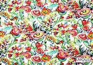 Unique Fabrics Flower Power - Ivory    Curtain & Upholstery fabric - Red, White, Floral, Garden, Natural Fibre, Domestic Use, Natural, White, Standard Width
