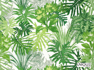 Uf_1187 'Ebony'   Curtain & Upholstery fabric - Green, Floral, Garden, Natural fibre, Tropical, Domestic Use, Natural