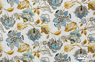 Unique Fabrics Artisan Prints   Kew  - Pomegranate  | Curtain & Upholstery fabric - Blue, Gold,  Yellow, Floral, Garden, Multi-Coloured, Natural fibre, Domestic Use, Natural