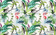 Uf_1454 'Blanc' | Curtain & Upholstery fabric - Floral, Garden, Natural fibre, Tropical, Many-Coloured, Animals, Domestic Use, Natural, Animals - Fauna