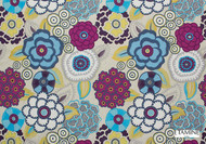 Uf_1460 '19482/424'   Curtain Fabric - Blue, Floral, Garden, Many-Coloured