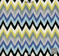 Textilia Monte - Sky  | Curtain Fabric - Blue, Multi-Coloured, Midcentury, Natural Fibre, Chevron, Zig Zag, Natural, Wide Width, Flame Stitch