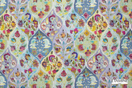 Uf_1723 '19484/474' | Curtain Fabric - Blue, Eclectic, Floral, Garden, Mediterranean, Natural fibre, Ogee, Many-Coloured, Natural