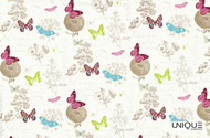 Unique Fabrics Bonheur Papillon - Blanc  | Curtain & Upholstery fabric - Eclectic, Midcentury, Natural Fibre, Pink, Purple, Animals, Animals - Fauna, Domestic Use, Natural