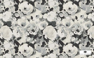Uf_1874 'CH2901/020' | Curtain & Upholstery fabric - Black, Grey, White, Floral, Garden, Synthetic fibre, Traditional, Black - Charcoal, White, Domestic Use
