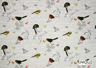 Uf_1883 'Blanc' | Curtain & Upholstery fabric - Grey, Midcentury, Natural fibre, Many-Coloured, Animals, Domestic Use, Natural, Animals - Fauna