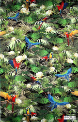 Unique Fabrics Rainforest - Midnight    Upholstery Fabric - Teflon, Floral, Garden, Outdoor Use, Synthetic, Tropical, Animals, Animals - Fauna, Domestic Use, Standard Width