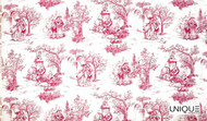 Uf_2057 'Bleu'   Curtain Fabric - Red, Natural fibre, Red, Toile de Jouy, Toile, Natural