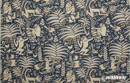 Uf_2112 '44092/558' | Curtain Fabric - Blue, Synthetic fibre, Animals, Animals - Fauna