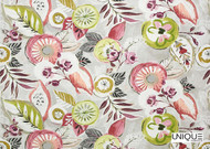 Unique Fabrics Artisan Prints   Shalimar  - Blush  | Curtain & Upholstery fabric - Green, Eclectic, Floral, Garden, Multi-Coloured, Natural fibre, Domestic Use, Natural