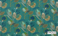 Uf_2281 'Cyprus'   Curtain & Upholstery fabric - Green, Eclectic, Floral, Garden, Natural fibre, Many-Coloured, Domestic Use, Natural