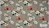 Unique Fabrics  Wandering Blooms  - Blush  | Curtain & Upholstery fabric - Grey, Red, White, Floral, Garden, Multi-Coloured, Natural fibre, Traditional, Domestic Use, Natural, White
