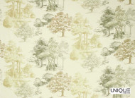 Unique Fabrics Highwick   Woodland  - Oak  | Curtain & Upholstery fabric - Green, Floral, Garden, Natural fibre, Domestic Use, Natural