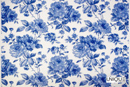 Uf_0085 'Delft'   Curtain & Upholstery fabric - Blue, Floral, Garden, Natural fibre, Domestic Use, Natural