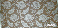 Uf_0086 'Ardoise' | Curtain Fabric - Brown, Craftsman, Floral, Garden, Jacobean, Synthetic fibre, Traditional