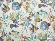 Etamine Granville Et Porquerolles Archipel - 19486/474  | Curtain Fabric - Blue, Beach, Natural Fibre, Animals, Animals - Fauna, Natural, Standard Width, Fish