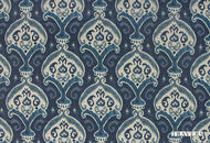 Uf_0123 'New' | Curtain & Upholstery fabric - Blue, Craftsman, Damask, Natural fibre, Traditional, Natural
